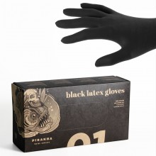 Piranha Latex Black Gloves Powderfree
