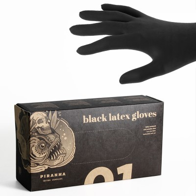 Piranha Latex Black Gloves Powderfree