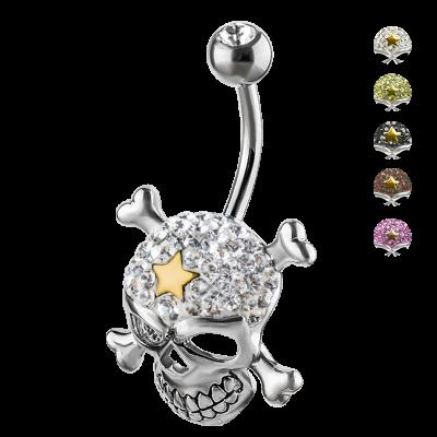 Crystal Skull & Crossbones Titanium Bananabell