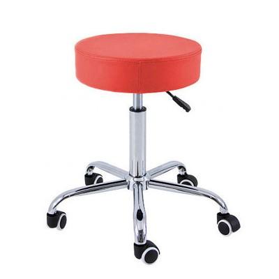 Padded stool with chrome base