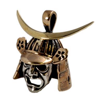 Pendente in Argento e Bronzo Date Masamune Maschere Giapponesi