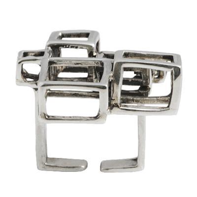 Hypercube Silver Ring