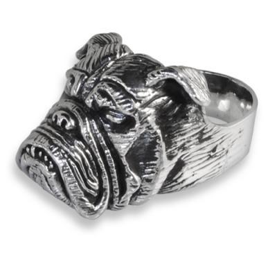 Anello in Argento con Bulldog Inglese