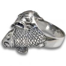 Silver Ring with Koi Carp