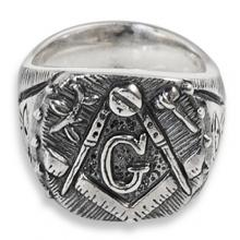 Masonic ring silver with GADU, Square and Compass