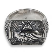 Ring in Silver with Masonic Handshake