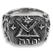 Masonic Ring in Silver with Sacred Book and Square