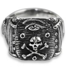 Masonic Ring with Silver Eye of Providence and Skull