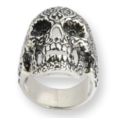 Anello In Argento - Flower Skull