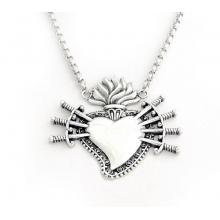 El Rana Silver Necklace  Sacred Heart with Seven Swords