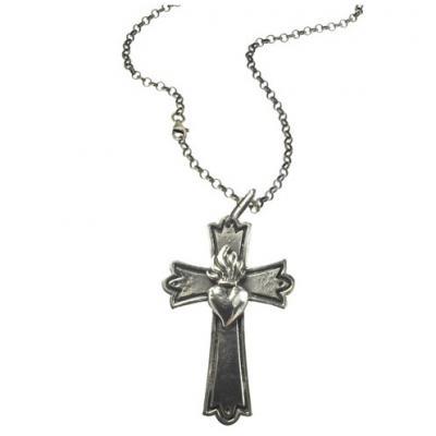El Rana Silver Big Cross Sacred Heart