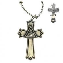 El Rana Silver Big Cross With Masonic Symbol