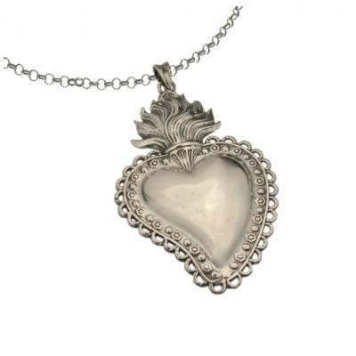 El Rana Silver Big Pendant Sacred Heart