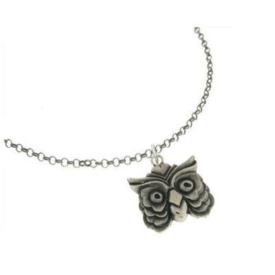 El Rana Silver Big Pendant Owl