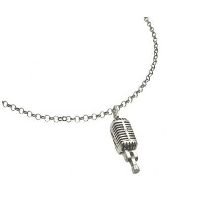 El Rana Silver Small Pendant Oldies Microphone