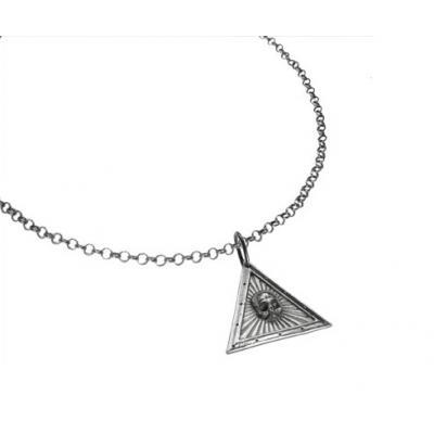 El Rana Silver Big Pendant Triangle Skull