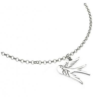 El Rana Silver Small Pendant Swallow
