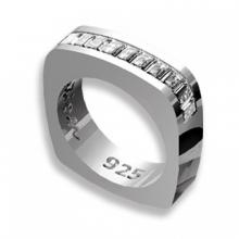Silver ring Baguette with white Swarovski Crystal Evolution