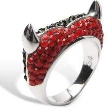Silver ring Devil Heart with red&black Swarovski Crystal Evolution