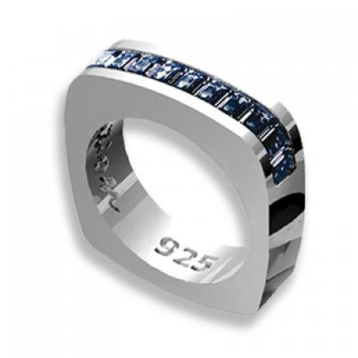 Anello Baguette in Argento con Swarovski blue Crystal Evolution