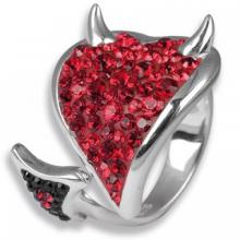 Silver ring Heart Devil with red Swarovski Crystal Evolution