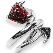 Silver ring Devil Tail black&red Swarovski Crystal Evolution