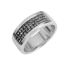 Silver wedding ring with gray Swarovski Crystal Evolution
