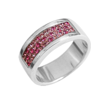 Silver wedding ring with pink Swarovski Crystal Evolution