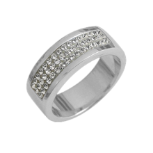Silver wedding ring with white Swarovski Crystal Evolution