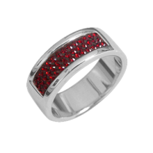 Silver wedding ring with red Swarovski Crystal Evolution