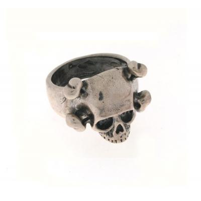 Anello in Argento con Teschio e Tibie Incrociate Old School El Rana