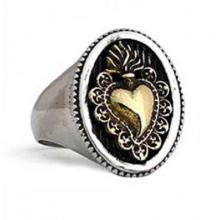 El Rana Collection Silver Ring whit golden sacred heart