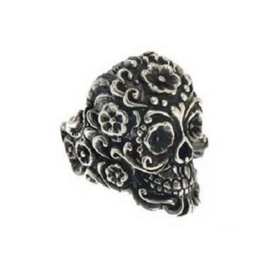 Silver Ring Mexican Skull Tattoo Style el Rana