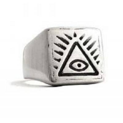 Anello in Argento Vintage anni70 Triangolo Occhio di Dio El Rana