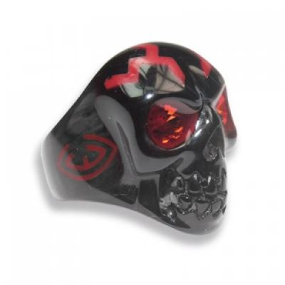 Anello Teschio nero in resina con occhi Swarovski Crystal Evolution