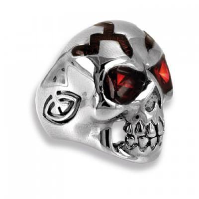Silver Ring Skull with red Swarovski Crystal Evolution