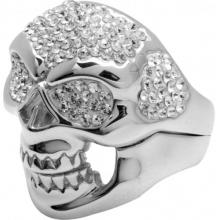 Silver Ring Skull with white Swarovski Crystal Evolution