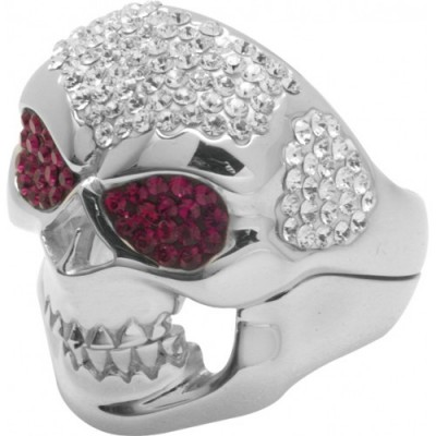 Silver Ring Skull with red Swarovski eyes Crystal Evolution