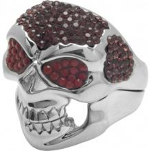 Silver Ring Skull with red Swarovski Crystal Evolution