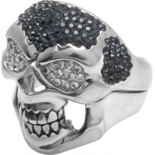 Silver Ring Skull with blue Swarovski Crystal Evolution