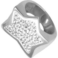 Silver Star Ring Crystal Evolution with White Swarovski