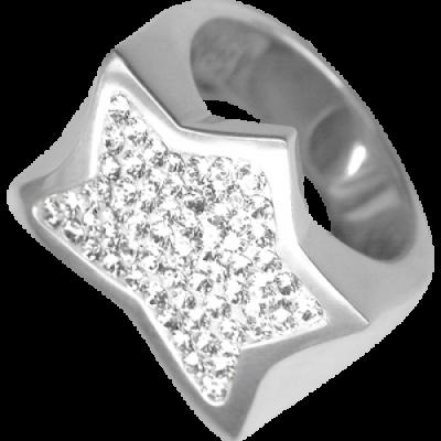 Anello Stella Argento e Swarovski bianchi Crystal Evolution
