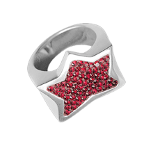 Silver Star Ring Crystal Evolution with red Swarovski Cristal