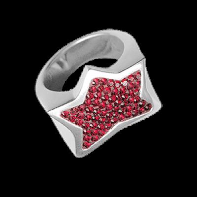 Anello Stella Argento e Swarovski rossi Crystal Evolution