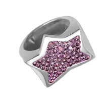 Silver Star Ring Crystal Evolution with pink Swarovski Cristal