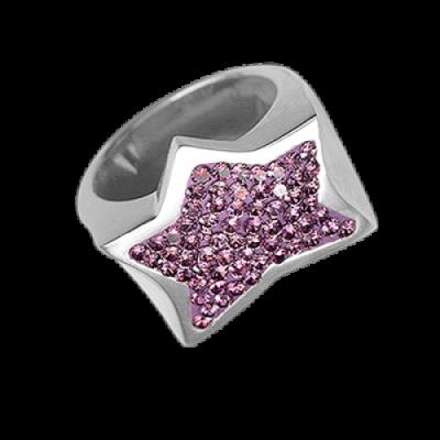Anello Stella Argento e Swarovski rosa Crystal Evolution