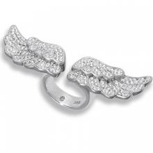 Silver ring Angel Wings with white Swarovski Crystal Evolution