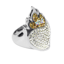 Silver ring Sacred Heart with white Swarovski Crystal Evolution