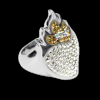 Anello Cuore Sacro Argento e Swarovski bianchi Crystal Evolution