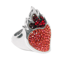Silver ring Sacred Heart with pink Swarovski Crystal Evolution